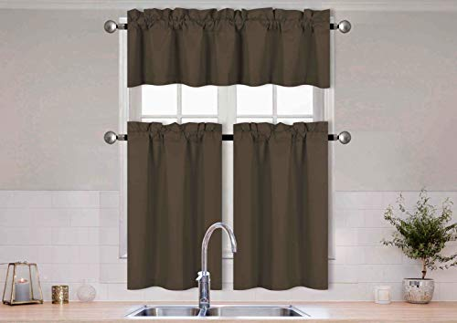 Home Collection 3 Pieces Solid Color Kitchen Curtain Set Tier and Valence with Rod Pocket Microfiber 100% Sunlight Blackout Drapes Window Treatment New (Choclate)