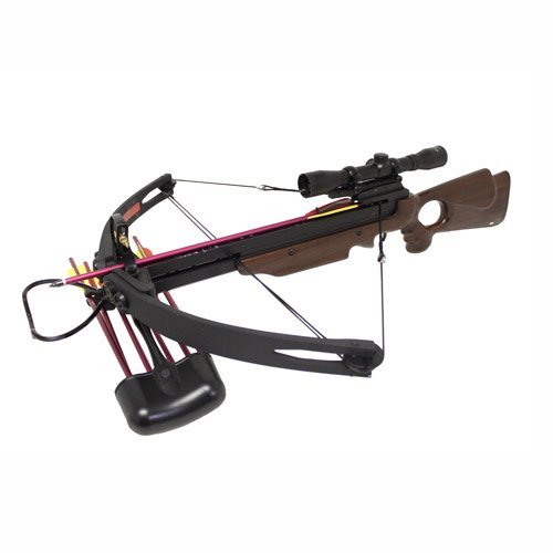 wood crossbow with scopes Spider 150 lb Real Wood Compound Crossbow 4x32 Scope + Extra Arrows + Quiver + Rope Cocking Device + Broadheads Package (Wood)