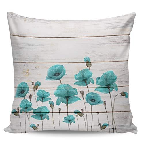 Scrummy, federa per cuscino, 50,8 x 50,8 cm, motivo papaveri sognanti vintage, in legno, per decorazione della casa