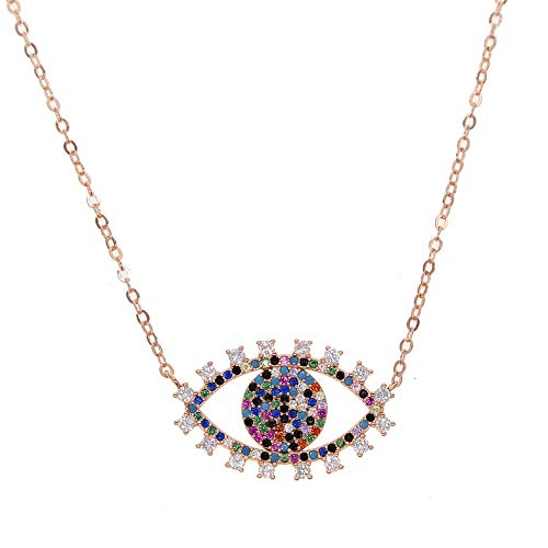 collares joyería de modacolorido zirconia cúbica turco mal de ojo elegante mujer collar de color oro rosa