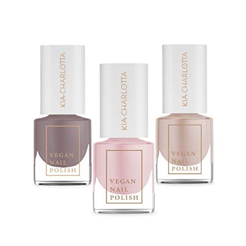 Kia-Charlotta, 100% Veganer Nagellack, Set, 3x Nudetöne Intuitive Energy, Courageous, Receive (Nude, Taupe, Perlenpink), 15 Free, Made in Germany, Premium Qualität, 3x 5ml