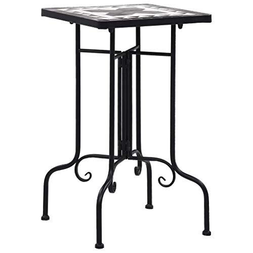 Tidyard Mosaic Side Table Bistro Table Dining Set Garden Table Black and White Ceramic