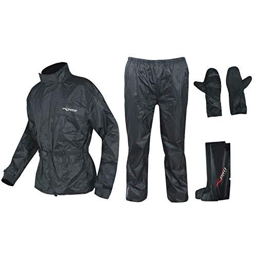 A-Pro Ganzkörper Wasserdicht Regenanzug Handschuhe Stiefel Motorradkombi Schwarz XL