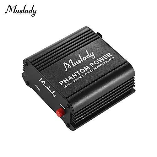 Muslady Phantomspeisung Power Supply Mikrofon + 48V Hochkompakt mit XLR-Eingang & Ausgabe für Kondensator Mikrofon Studio Musikaufnahme