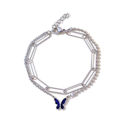 Hjku Acero inoxidable mariposa colgante pulsera doble capa cadena mujer joyería