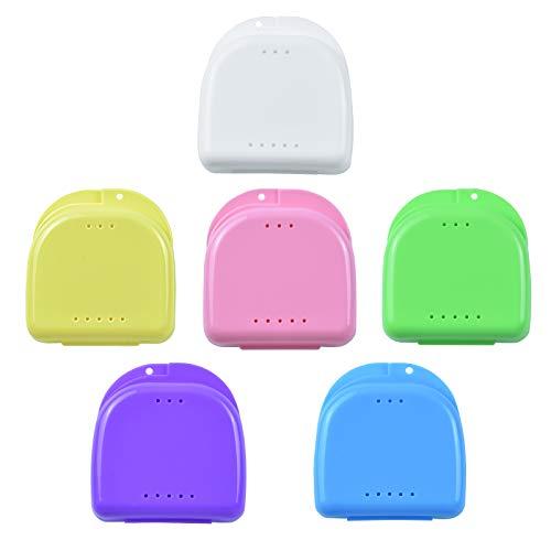 6 Stück Zahnspangendose Zahnspangenbox Prothesendose Retainer Fall Kieferorthopädische Dental Retainer Box Prothese Aufbewahrungsbehälter für Aufbissschiene Knirscherschiene