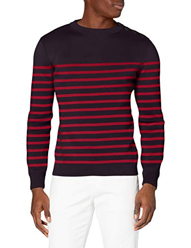 Armor Lux Herren Pull Marin Groix Homme Pullover, Mehrfarbig (I78 Navi/Chili Red I78 Navie/Chili Red), X-Large