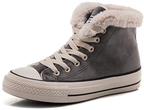 Solshine Damen Kurzschaft Gefüttert Winterstiefeletten Sneaker 557 Grau 39EU