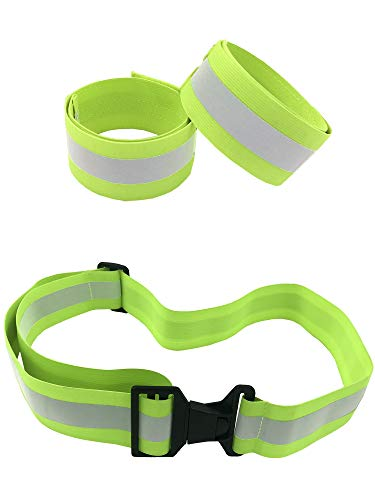 High Visibility Reflective Belt, Army PT Belt. Reflective Running Gear for Men and Women for Night Running Cycling Walking. Military Safety Reflector Strips (Green Belt + 2 Bands)