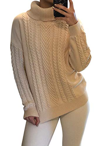 Sovoyontee Women's 100% Cotton Funnel Apricot Turtleneck Cable Knit Pullover Sweater XLarge