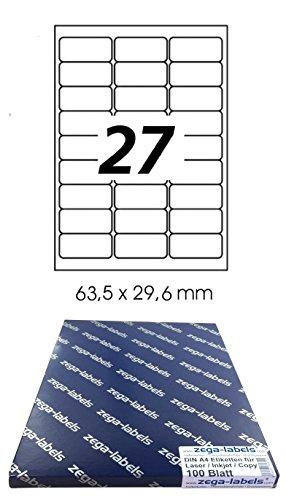 2.700 Etiketten 63,5 x 29,6 mm selbstklebend für Amazon FBA Versand auf DIN A4 Bögen (3x9 Etiketten) - 100 Blatt Pack - Universell für Laser/Inkjet/Kopierer/Farblaser einsetzbar - 63x29 27-teilig