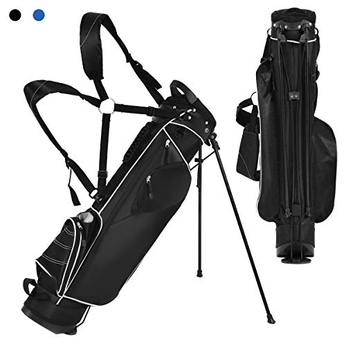 Tangkula Stand Bag Lightweight Organized Golf Bag Easy Carry Shoulder Bag with 3 Way Dividers and 4 Pockets for Extra Storage