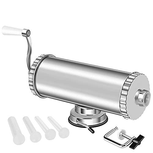 5 LBS Horizontal Sausage Stuffer, Manual Aluminum Sausage Maker Kit for Restaurants & Homemade Use