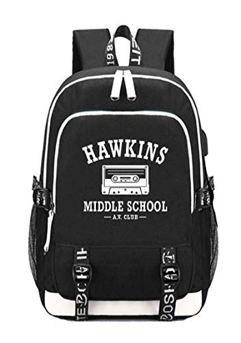 Strange Thing Hawkins Middle School AV Club College USB Charging Backpack Laptop Bag Travel Bookbag Daypack (Hawkins Middle School A.V Club -balck)