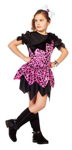 Karneval-Klamotten Pebbles Steinzeit Kostüm Kinder Mädchen Höhlenmensch Neandertaler pink schwarz Kinderkostüm