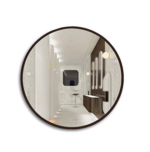 WECDS-E Espejo de baño Redondo Simple Europeo Marco de Madera Espejo de baño Espejo de Pared/Color del Producto Marrón, Color de Madera Natural (Color: Color café, Tamaño: 60 * 60 cm)