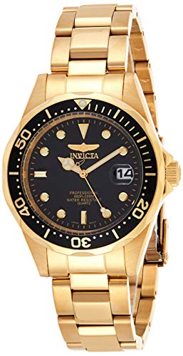 Invicta Men's Pro Diver 37.5mm Gold Tone Stainless Steel Quartz Watch, Gold/Black (Model: 8936)