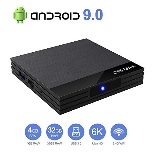 TV Box Android 9.0 TV Box Smart Media Box 4GB RAM 32GB ROM 4.2 WiFi 2.4G Ethernet 2USB 3.0 Set Top Box Support 4K Ultra HD Internet Video Player