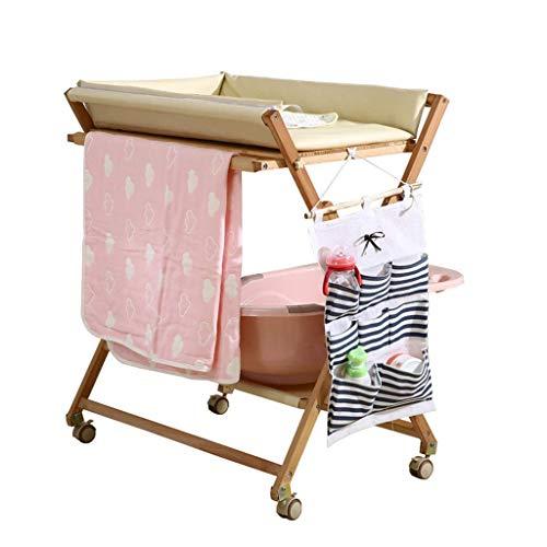 LZQBD Family Care/Holz Ändern Tray Holz In Wechselstation Lagerung Wickelauflage Baby-Dresser Wickeltisch mit Rollen 0-3 Monate Faltbare Kreuzbein Stil