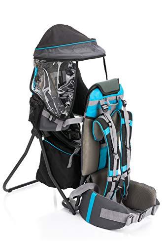 Fillikid Babytrage Rückentrage Exclusiv   Rücken Babytrage mit Sonnenschutz & großen Staufächern   Kraxe zum Wandern mit Baby und Kleinkind   Tragesitz bis 20 kg, Design:grau/blau