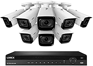 Lorex 4KHDIP86NVW-2 4K Nocturnal IP NVR System with 16 Channel 3TB NVR, 8 4K Smart IP Motorized Zoom Security Bullet Cameras, Real-Time 30FPS Recording and Smart Motion Detection