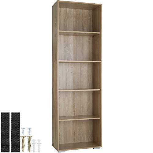 tectake 800842 Bücherregal aus Holz, Standregal mit 5 offenen Fächern, (BxTxH): ca. 60 x 30 x 190 cm, bodenschonende Kunststofffüße (Eiche)