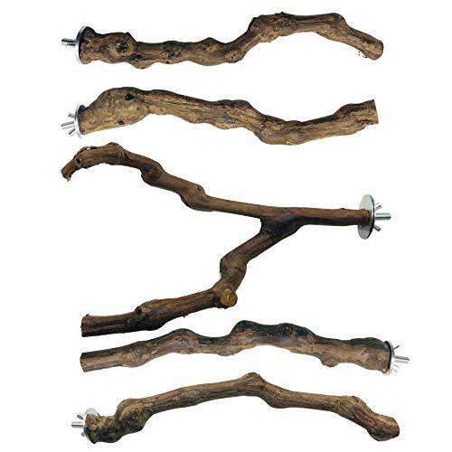 N|A Allazone 5 Stück Sitzstangen Vögel, Naturholz Sitzstangen Natürlicher Traubenstab Sitzstangen für Vögel, Vögel Spielzeug Vogel Papagei Schaukel Spielzeug