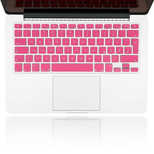 NALIA Protección del Teclado Compatible con Macbook Air/Pro/Pro Retina 13' & 15' Pulgadas, Delgado Silicona Folio Transparente Película Protectora Translucida Cubierta Flexible, Color:Pink Rosa