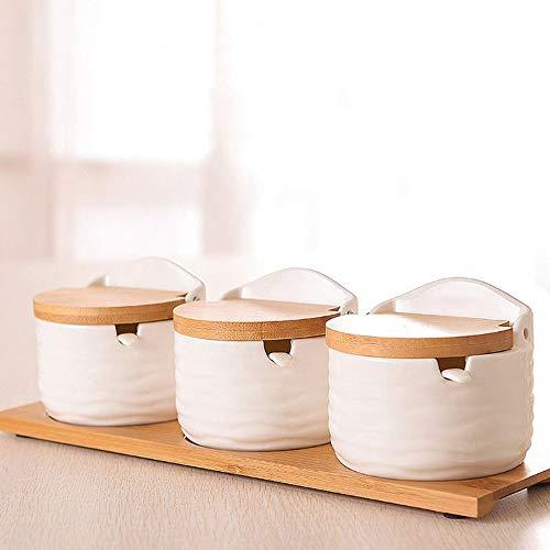 SMEJS Dreiteiliger Keramik-Gewürztopf, Haushaltsgewürz aus Bambus und Holz, Löffel mit Deckel, Küchengewürztopf