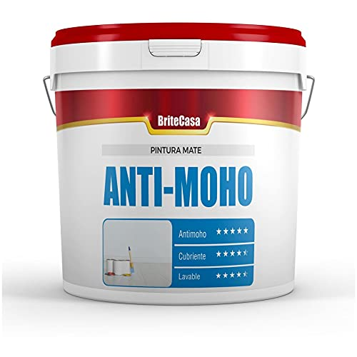 BriteCasa PINTURA ANTIMOHO 5 kg (EXTRA BLANCO, MATE) - Evita la aparición de moho en paredes y techos. Lavable y cubriente. Resistente a la humedad