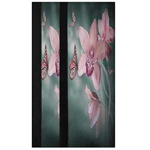 Oarencol Juego de 2 fundas para manija de puerta, diseño de mariposas, color rosa