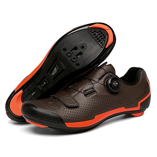KUXUAN Zapatillas de Ciclismo para Hombre y Mujer Peloton Bicicleta de Carretera Zapatillas de Bicicleta de montaña Zapatillas de Bicicleta MTB para Carreras en Interiores y Exteriores,Brown-46EU