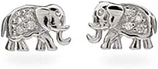 Sterling Silver and CZ Elephant Stud Earrings