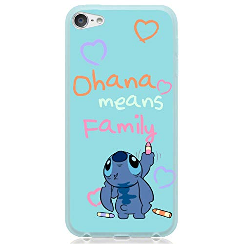 for iPod Touch 6 7 6th 7th Generation Flexible TPU Case Cover Premium 9H Glass Screen Protector - Cute Cartoon Character Stitch Crayon