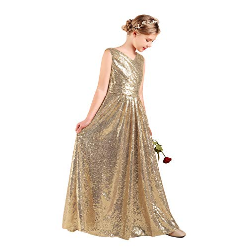 Long Junior Bridesmaid Dress Sequin Flower Girl Dress Champagne Formal Wedding Party Pageant Maxi Dress Dance Ball Gown 6t