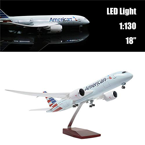 """24-Hours 18"""" Collection Model Airplane Statue Scale 1 130 Airplane Model American Airlines Boeing 787 with LED Light(Touch or Sound Control) for Decoration or Gift"""