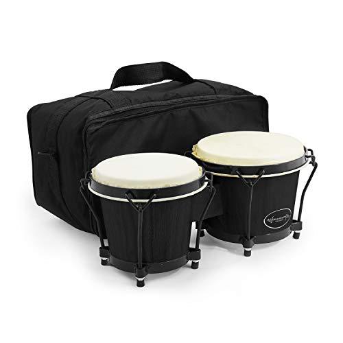 "World Rhythm Bongos 6"" & 7"" Beginners Oak Bongo Drums – Matte Black..."