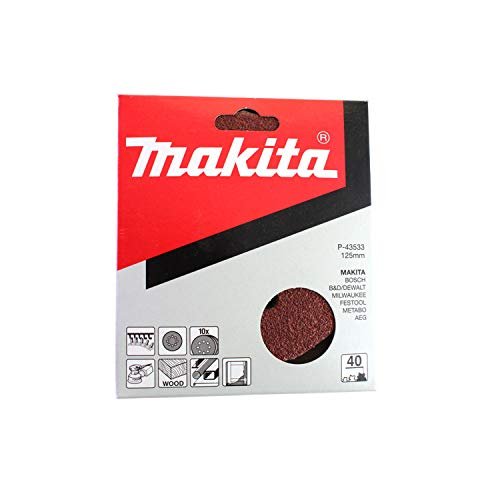 Makita P-43533-Confezione 10 lijas perforati, autofissanti 125 mm per Bo 5020-21-30-31-41 grana 40