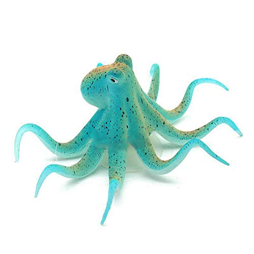 MeterMall Home For Aquarium Decorations Fish Tank Landscaping Silicone Octopus Simulation Night Fluorescent Ornament Non-Toxic Safe for All Fish and Pets blue