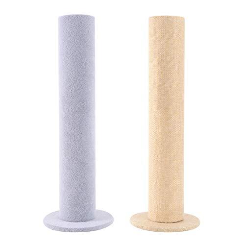 Cabilock 2 unidades de torre vertical de terciopelo para joyas, pulseras, soporte para barra en T, soporte para rack, cinta para el pelo, perchas para el hogar, armario de trabajo
