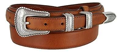 Silver Buckle Set Oil-Tanned Genuine Leather Western Ranger Belt for Men(Tan, 38)