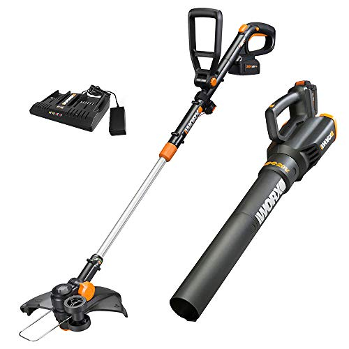 Worx WG930.3 20V PowerShare 10' Cordless String Trimmer & Turbine Blower Combo Kit, (2) 4.0Ah Batteries and Dual Charger
