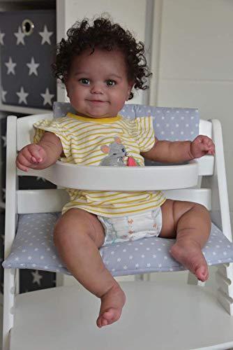 yuela 50 CM Corps Souple Flexible Reborn bébé Fille Maddie Peau Noire bébé Afro-américain...