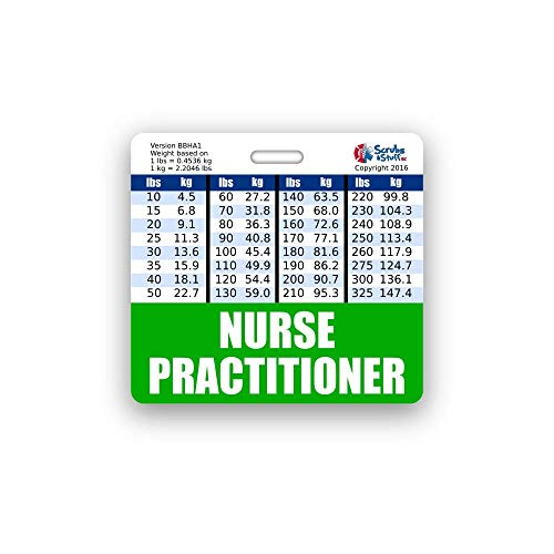 Nurse Practitioner Badge Buddy Horizontal w/Height & Weight Conversion Charts (Standard, Green)