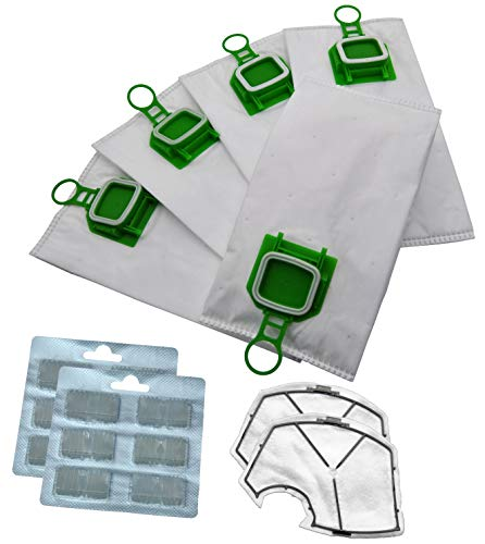 Cleanwizzard 0926e - Juego de 12 bolsas de tela para aspiradora Vorwerk Kobold VK 140 VK 150 FP 140 FP 150 (5 capas, 2 filtros de protección del motor y 12 bloques de aroma)
