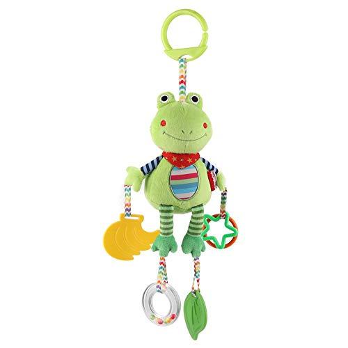 Traqueteo del bebé que cuelga del juguete para la cama cuna cochecito del niño pequeño de dibujos animados de animales de peluche de felpa decoración muñeca con espejo de mordedor(Rana)