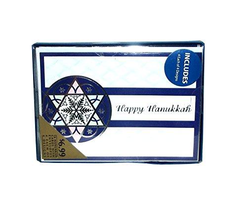 Pinecone Design Hanukkah Greeting Card Box Assortment Set, 16 count ('Happy Hanukkah' Snowflake Star)