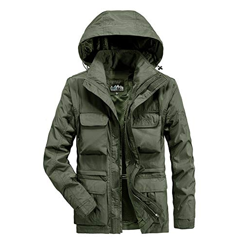 Uqiangy Men's Military Cotton Lightweight Tall and Big Hooded Muti-Pockets Sherpa Jacket for Outdoor(Army Green,L)