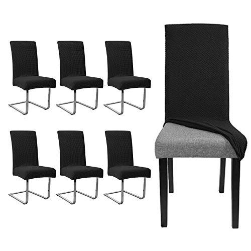 EINFEBEN 6 stück Elastische Stuhlhusse Universal Wasserdicht Stuhl Husse  Moderne Langlebig Stuhl Schutzhülle Abnehmbare Bi-Elastic Spannbezug für Schwingstühle Und Esszimmerstühle etc.(Schwarz)