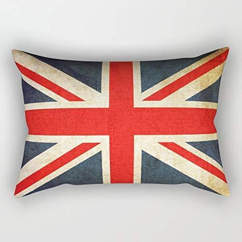 Yuanmeiju Vintage Union Jack British Flag Rectangular Pillowcase Cushion Cover 20x30 Inch